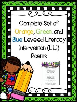 Complete Set of Orange, Green, and Blue Leveled Literacy I
