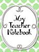Complete Teacher Notebook! Planner Cute Green and Gray. Ar