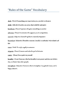 "Complete Vocabulary Unit to Supplement Amy Tan's ""Rules of"