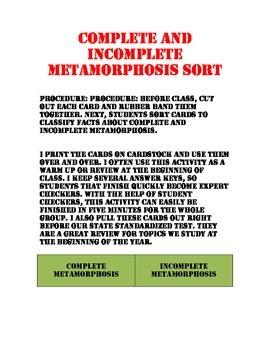 Complete and Incomplete Metamorphosis Sort