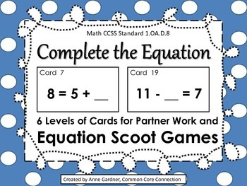 Complete the Equation Task Cards for Scoot Games/Partner W