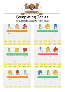 Complete the Table 4 - Fill in the table - Gr. 2-5