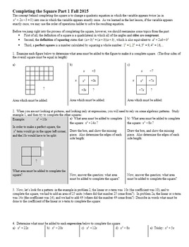 Completing the Square Part 1 Fall 2015