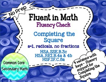 Completing the Square a=1 + Radicals Fluency Check : No Pr