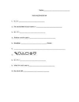 Complex Following Directions Worksheet
