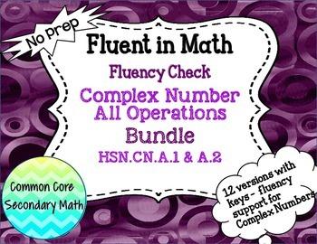 Complex Number Operations Bundled Fluency Checks : No Prep