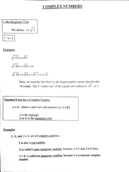 Complex Number Reference