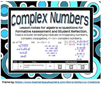 Complex Numbers (Guided Notes for Algebra)