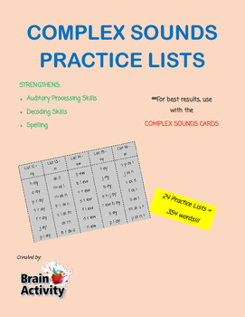 Complex Sounds & Blends Practice Lists