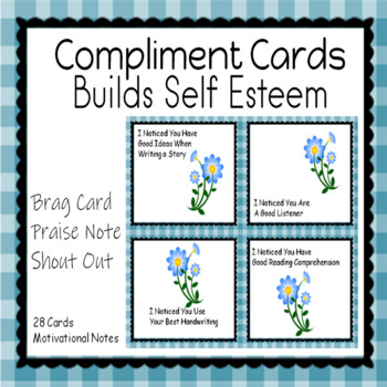 Compliment Cards Positive Notes for Students Bucket Filler