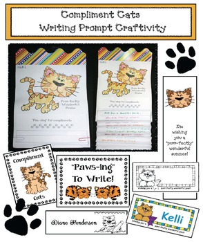 Compliment Cats!  Writing Prompt Craftivity Plus Bookmarks