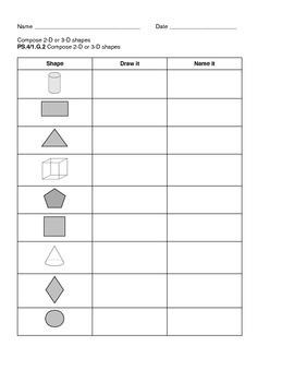 Compose 2D/3D shapes Gr. 1 assessment