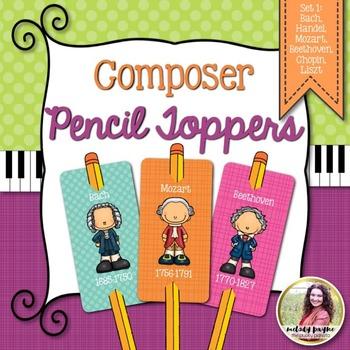 Composer Pencil Toppers Set 1: Bach, Handel, Mozart, Beeth