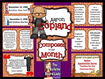 Composer of the Month Copland-Bulletin Board and Writing A