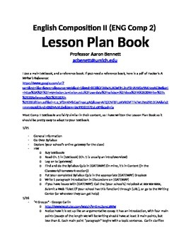 English Composition II (Comp 2) Lesson Plan Book