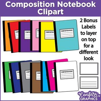 Composition Notebook Rainbow Colors 15 Piece Set Clipart Clip Art