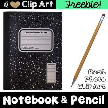 Composition Notebook and Pencil Clip Art Freebie