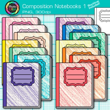 Composition Notebook Clip Art {Back to School Supplies for