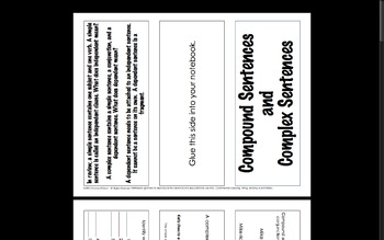 Compound Complex Sentences Foldable and Worksheets