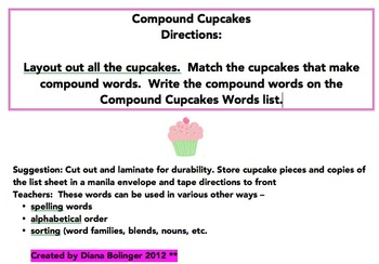 Compound Cupcake Words