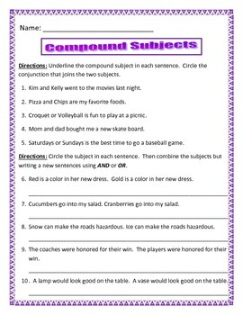 Compound Subjects - 3 pages of10 questions each. Common Core