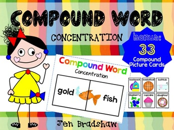 Compound Word CONCENTRATION Game ~ Center Activity ~ Readi