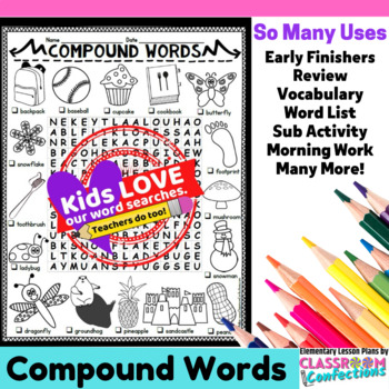Compound Words Activity: Compound Words Word Search
