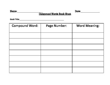 Compound Words Book Hunt Open Ended Activity Daily 5 Station