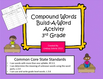 Compound Words: Build A Word 3rd Grade Common Core Sorting
