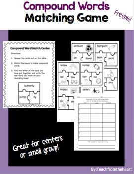 Compound Words Matching Game FREEBIE