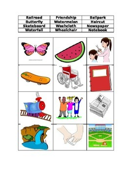 Compound Words Picture Word Sort