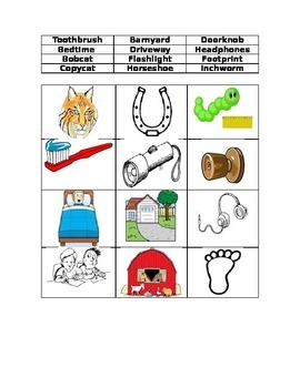 Compound Words Picture Word Sort #2