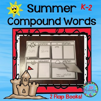 Compound Words Summer Flap Books for Kindergarten, First G