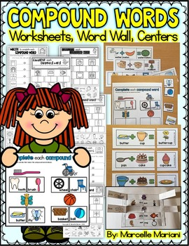Compound Words Activities: Worksheets, Centers, Word Wall,
