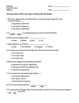 "Comprehension Assessment Questions for the Book: ""Catwings"""