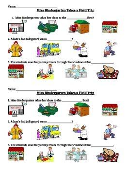 "Comprehension Assessment for the story ""Miss Bindergarten"