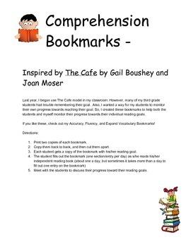 Comprehension Bookmarks - CAFE/CRAFT Inspired
