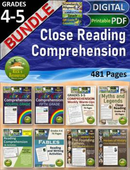 Reading Comprehension Activities Bundle for 3rd grade, 4th