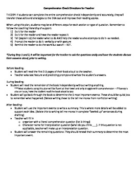 Comprehension Check DRA format