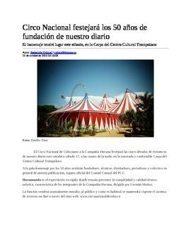 Comprehension - El Circo Nacional adaptado del Granma Cuba