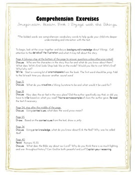 Comprehension Exercises for Imagination Station
