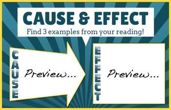 Comprehension Graphic Organizer - Cause & Effect