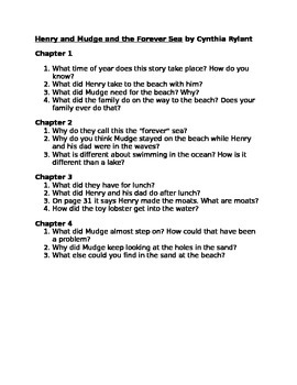 Comprehension Questions for Henry and Mudge and the Forever Sea