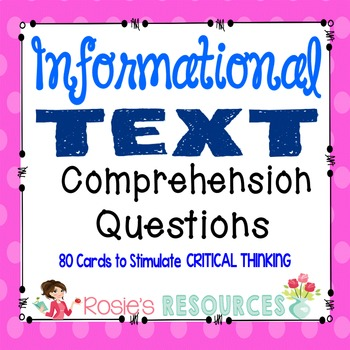 Comprehension Questions for Informational Text - 80 Critic