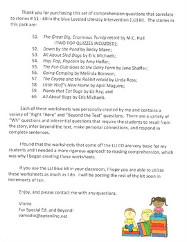 Comprehension Questions for LLI Blue Kit, Stories 51-60