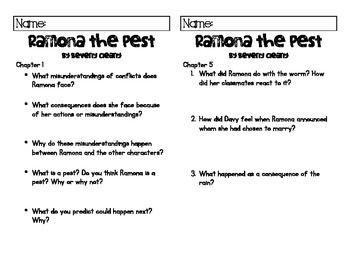 Comprehension Questions for Ramona the Pest