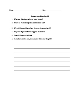 Comprehension Questions for Reading A-Z Broken Arm Blues Level J
