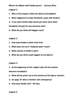 Comprehension Questions for What's the Matter With Herbie