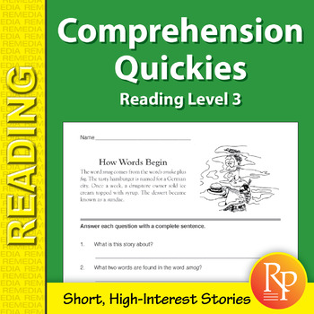 Comprehension Quickies (Reading Level 3)