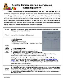 Comprehension - Retelling Intervention